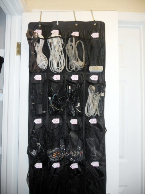 Cable storage over the door for shoe rack