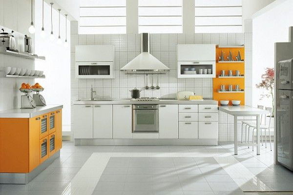 Orange Kitchen Combined With White 600 400