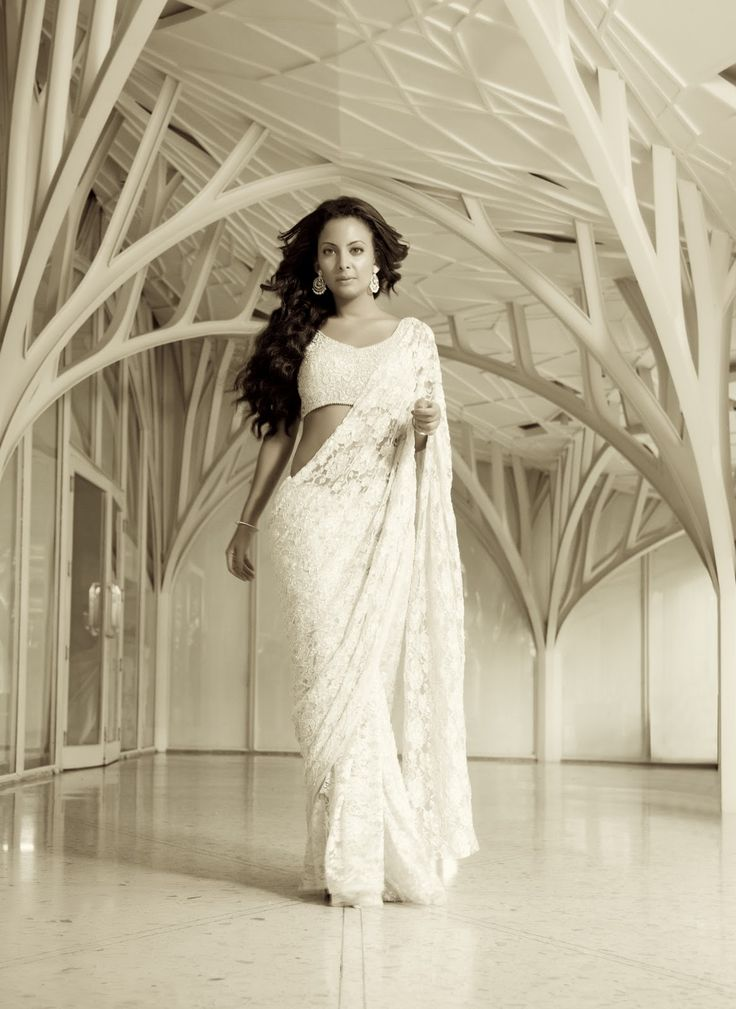 White Lace Saree With Crystal Blouse