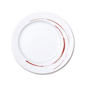 Assiette plate en porcelaine ronde Blanc motif trait 28cm - Lot de 6 GOUSTO EN COULEUR GRIS