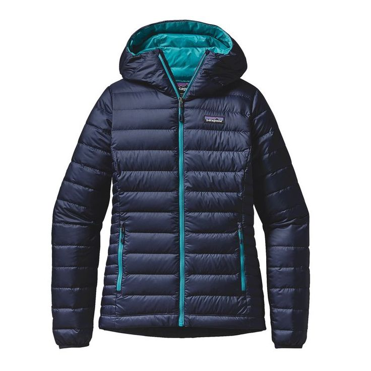 For honeymoon- Large- W'S DOWN SWEATER HOODY, Navy Blue w/Epic Blue (NBEB)