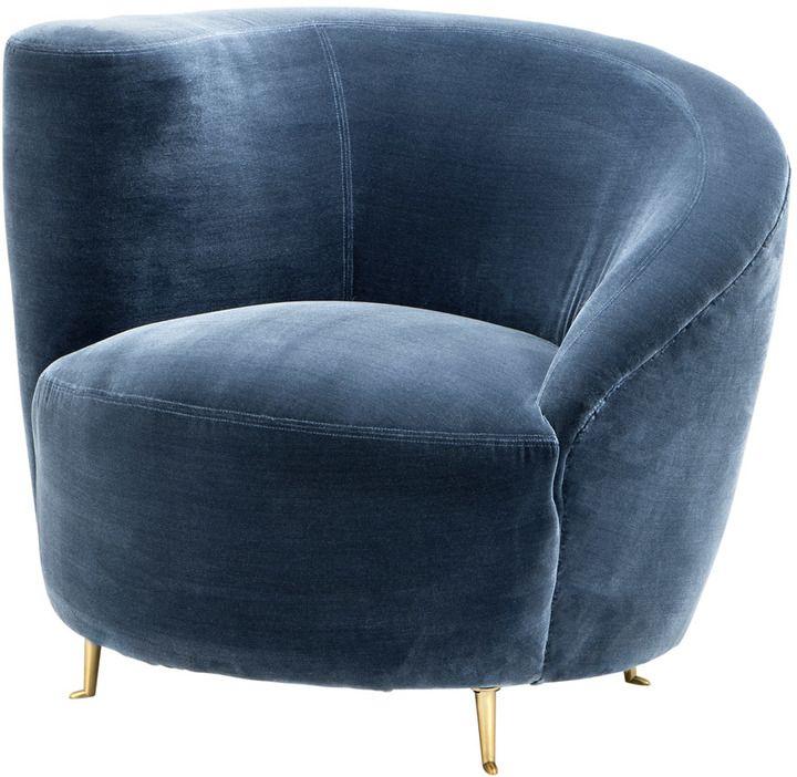 £1,295 Eichholtz Khan Chair in Cameron Blue with #Gold Legs | #ArtDeco #Interiors #Armchair #HomeDecor | #Ad