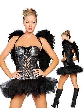 Disfraz Ángel Negro Espectacular Disfraz Ángel Negro compuesto por corsé con tutú y sensuales alas negras.