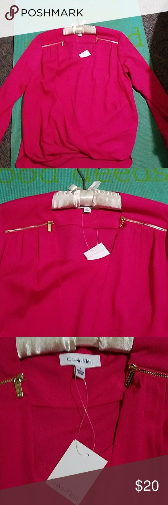 Calvin Klein hot pink blouse Calvin Klein HOT PINK blouse faux wrap style zipper embellishments on shoulders, buttons to roll up sleeves to 3/4 - model photo is the same blouse in blue Calvin Klein Tops Blouses