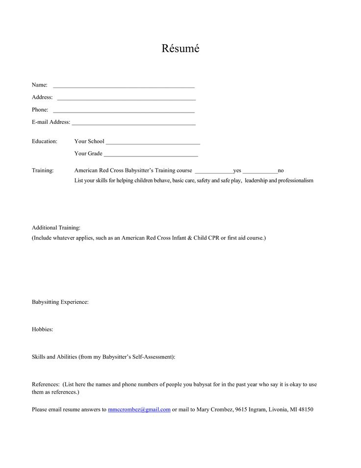 Babysitting work experience resume how to draft a