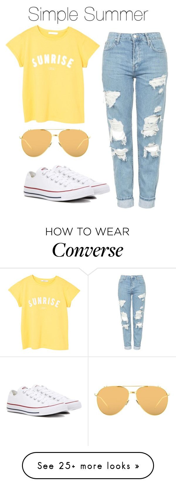 """Simple Summer Outfit"" by bekahlaw04 on Polyvore featuring Topshop, MANGO, Converse and Linda Farrow"