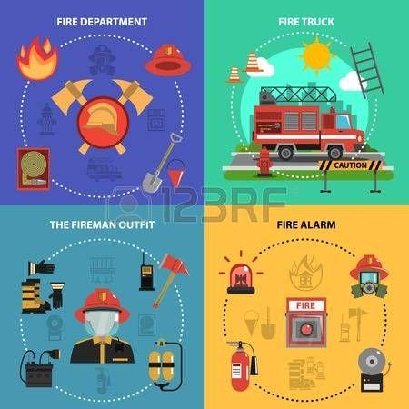 Extinción de incendios concepto de diseño conjunto con iconos planos alarma traje camión bombero aislado ilustración vectorial.