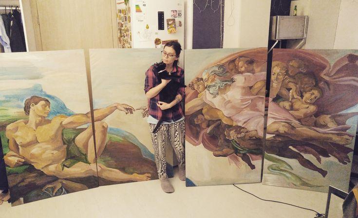 Сегодня завершила свою самую большую копию ) она состоит из четырёх холстов, каждый размером 85/150 сантиметров 😊 Эти полотна будут украшать #кофейню #ликас в Петергофе #холст #акрил #сотворениеадама #копия #Микеланджело #painting #copy #Acryl #canvas #likas #cafe #bakery #теплоеместопетергофа #спб #mj #marinushkinaart