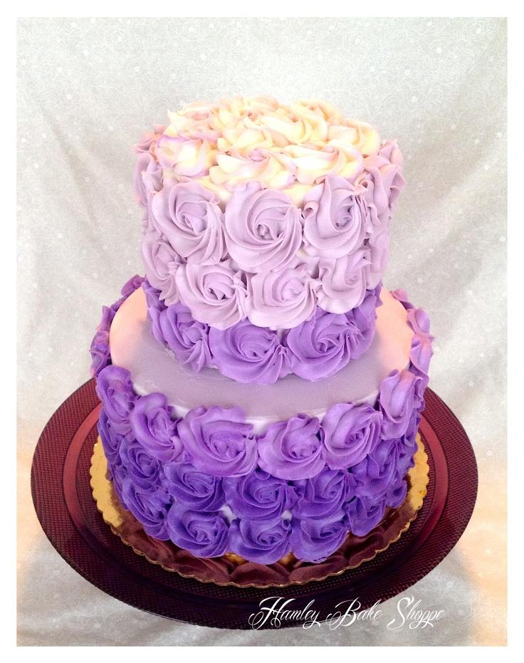 Ombre Purple Bridal Shower Cake