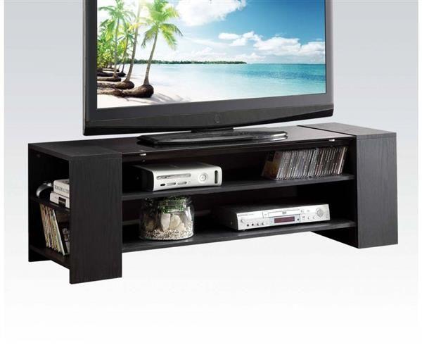 Winford Black Wood PVC Glass TV Stand w/6 Shelves