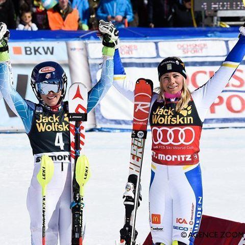 Winners of the day: @mikaelashiffrin takes the win, @hansdotterfrida grabs the globe in the #stmoritzfinals ladies' slalom #fisalpine