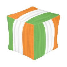 Happy St. Patrick's Day Irish Flag Colors Pouf