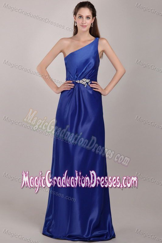 Modest Royal Blue One Shoulder Long Grad Dresses with Beading in Katy