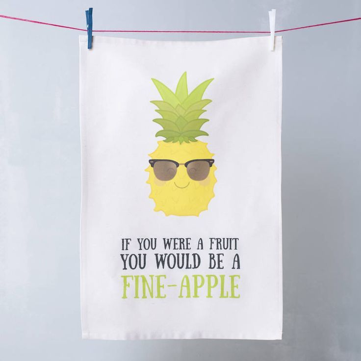 So funny, love a good pun! 'Fine Apple' Pineapple Pun Tea Towel, perfect gift for a partner or someone you love or just something awesome for your own kitchen... Love pineapples, they are everywhere at the moment!