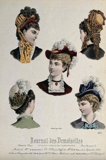 The heads and shoulders of five women wearing hats. The Wellcome Library, CC BY