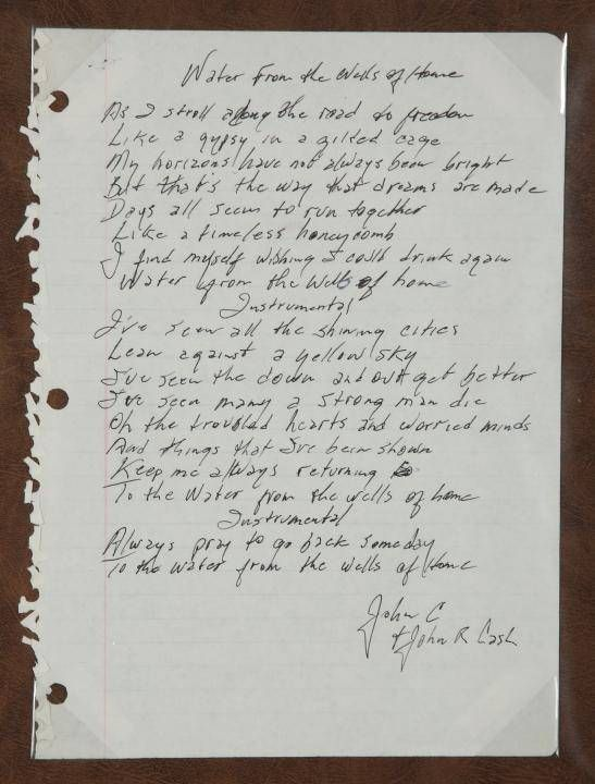 Handwritten Lyrics By Johnny Cash To The Song Water From The Wells Of Home Johnny Cash Lyrics