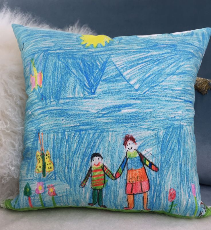This #Art - #Pillow #design is done by Mr Cinar who is 8 years old. İt is a #present for #grandma. Don't tell anyone just yet :)