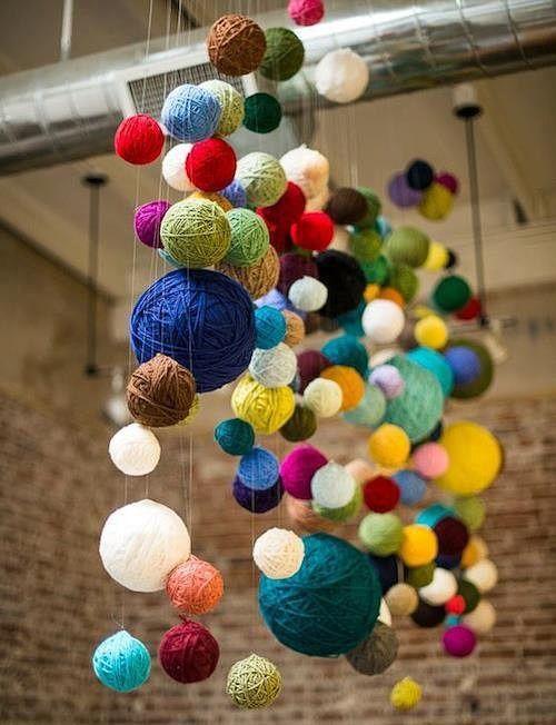 Декор из клубков пряжи - Colors.life