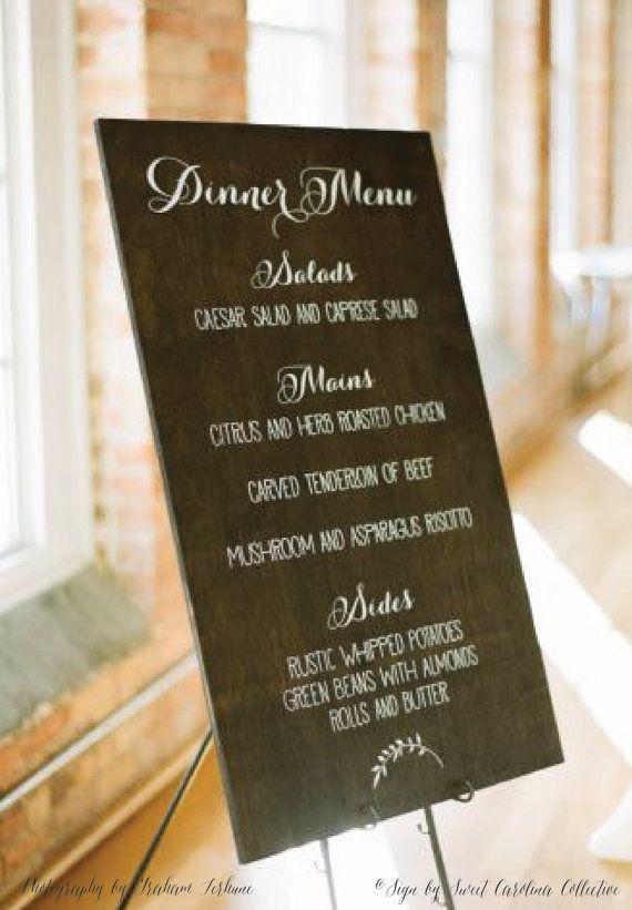 Wedding Menu Board, Wooden Dinner Menu, Wedding Dinner Menu, Rustic Wedding Menu WM-2 by Sweet Carolina Collective