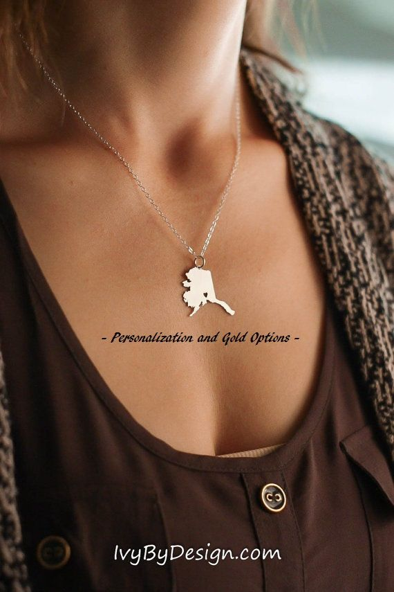 Alaska State Pendant - Map Necklace - Alaska Necklace - Personalize State Jewelry - Home State Charm -Going Away Gift -State to State