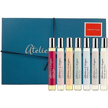 Atelier Cologne Collection Voyage by Atelier Cologne. $95.00. The master perfumers of Atelier Cologne blend unexpected and rare extracts with signature fresh citruses to create Colognes Absolues, concentrated formulas with distinctive and long-lasting sillage. The collection depicts seven moments, seven characters. Each scent captures treasured emotions and powerful memories.The original eau de cologne was created three hundred years ago by an Italian perfumer establi...