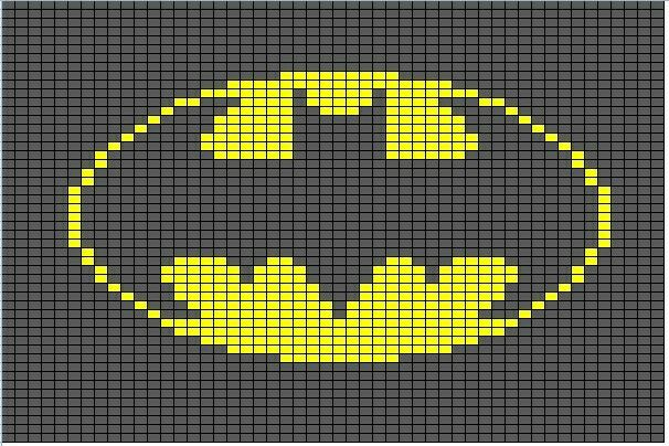 Batman knitting or crochet graph chart for cushion or blanket