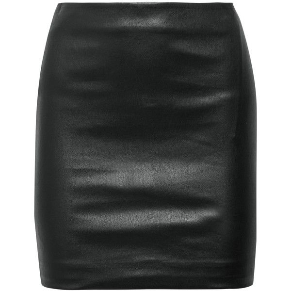 The RowLoattan Stretch-leather Mini Skirt (£1,810) ❤ liked on Polyvore featuring skirts, mini skirts, black, stretch leather skirt, stretchy skirt, leather miniskirt, short leather skirt and short skirts