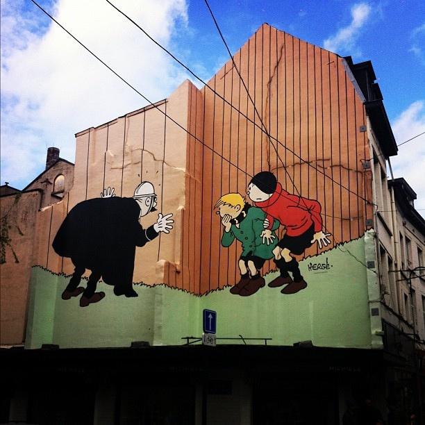 Fresque BD de Quick & Flupke, à Bruxelles