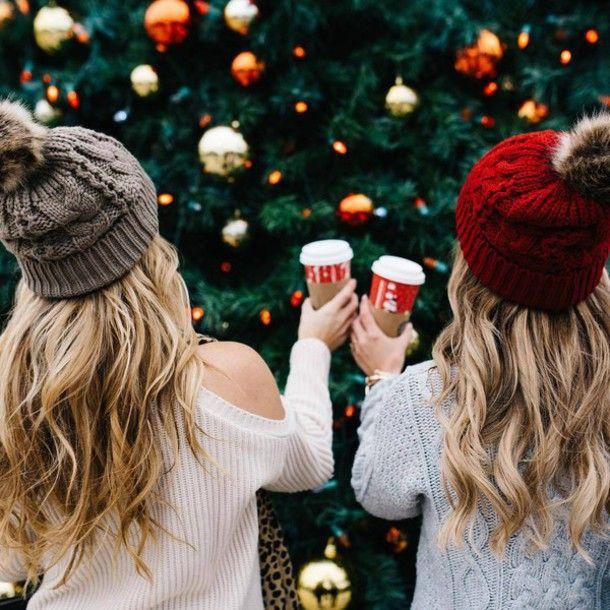Hat: tumblr beanie pom pom beanie grey beanie sweater white sweater holiday season coffee grey