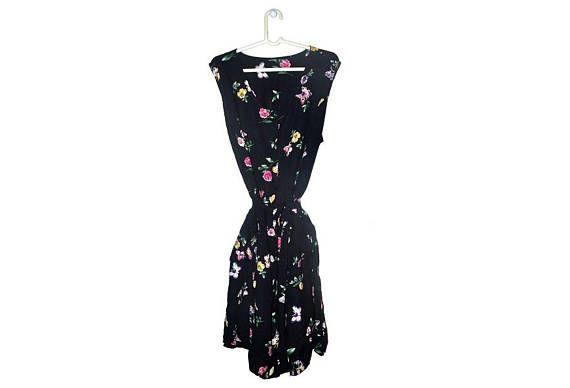 Plus Size Black Floral Dress Vintage Button Up Butterfly Print