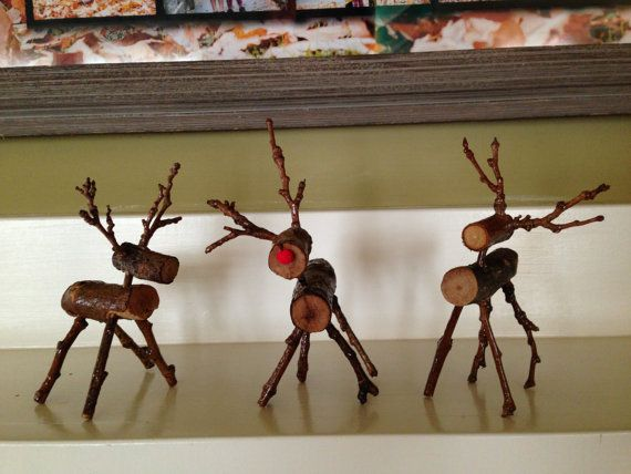 Rustic wood reindeer by PaulaFolawn on Etsy