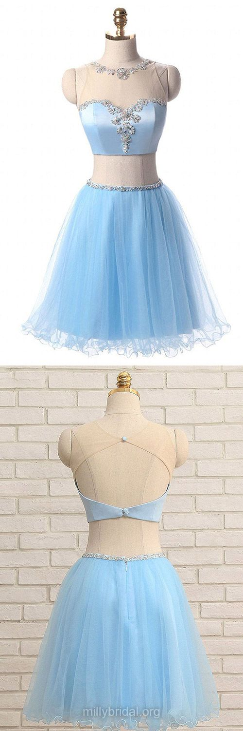 Cute Blue Prom Dresses,A-line Scoop Neck Two Piece Homecoming Dresses,Satin Tulle Short/Mini Cocktail Dresses,Beading Open Back Evening Party Gowns