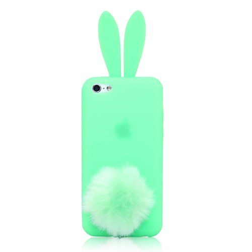 Amazon.com: Rabbit Silicone Case Shallow Light Green Bunny Ears Soft Rubber Cover Skin Furry Tail For iPhone 5C: Cell Phones & Accessories