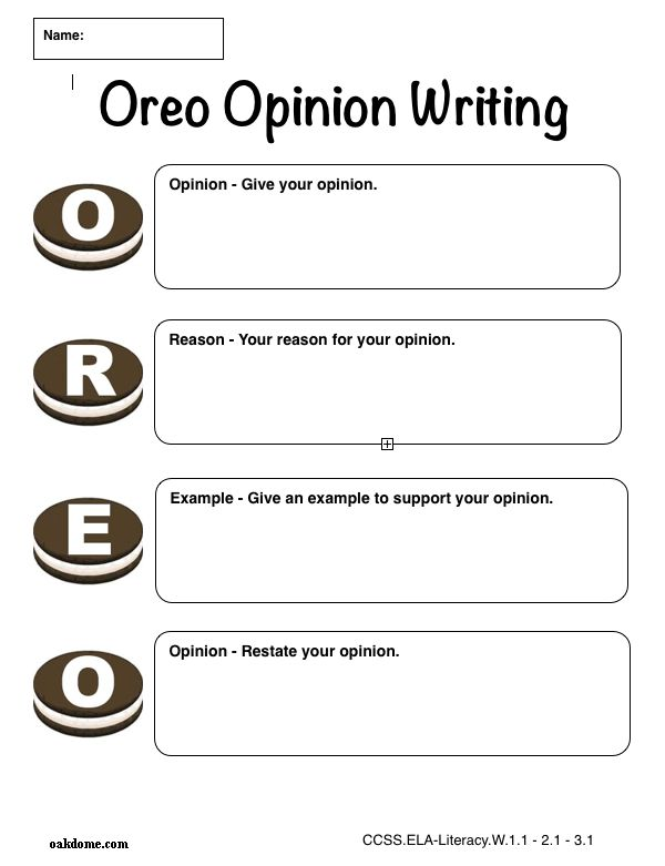 oreo persuasive writing Using an oreo planner (yes, like the biscuit), children learn how to create a persuasive writing text children have to brainstorm their own opinion, reason, explanation and then revisit their opinion to persuade their audience.