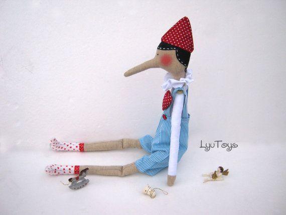 Pinocchio  Geschenk für Mädchen und jungen Tilda Puppe von LyuToys