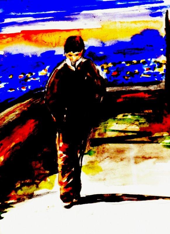 """""""L'urlo dei pensieri"""". I ragazzi si erano stufati in fretta di giocare al pallone, così si erano seduti sopra al bordo di un marciapiede poco lontano, tenendosi le ginocchia con le braccia e parlando sottovoce delle loro cose. Il babbo di uno di loro era passato poco dopo con la sua auto scarburata, aveva abbassato il finestrino e lo aveva chiamato.... (di Bruno Magnolfi - Acquerello di Giulia Tesoro)."""