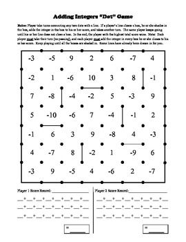 Adding Integers Dot Game: make with no negative numbers