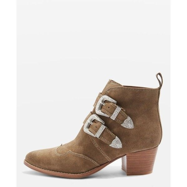 Topshop Montana Western Boots (225 BRL) ❤ liked on Polyvore featuring shoes, boots, ankle booties, taupe, short cowboy boots, leather boots, western booties, leather bootie and western boots