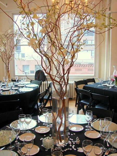Curly Willow Centerpieces For Reception Table Decorwith Lightening All Around N Perhaps An Orchid Intertwined In The Vase Branches