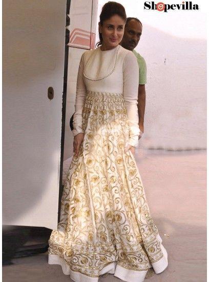 Kareena Kapoor White Banglori Silk Designer Gown-KD-1116