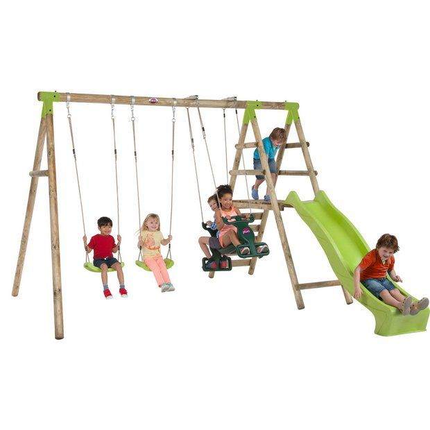 Buy Plum Silverback Wooden Garden Swing Set at Argos.co.uk - Your Online Shop for Swings, Swings, slides and climbing frames, Outdoor toys, Toys.