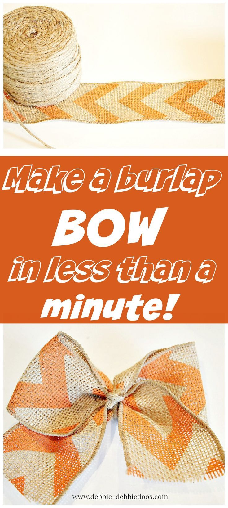 How to make a burlap bow in less than one minute flat. No glue, no staples, no brainer! Lots of other burlap decor ideas. #spon