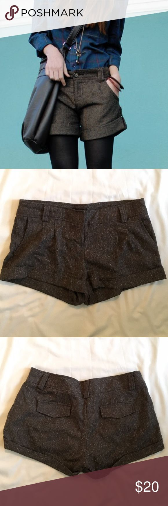 """Perfect faux wool shorts autumn weather style Plaid faux wool shorts perfect for transitional autumn weather style them with tights and a sweater for the perfect fall look 2.5"""" inseam Shorts"""