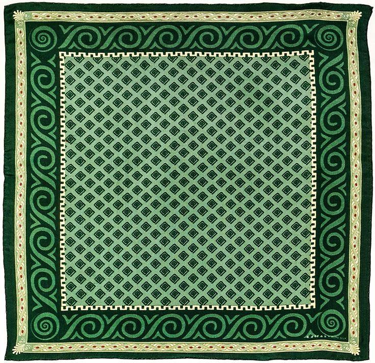 Fabric : 100% Pure Silk Type   : Foulard 7m/m Print   : digital Hand-rolled edges Dimensions  : 50x50cm / 19''x19'' Theme : Ancient Greek Motifs 17-50-131 Green-Beige