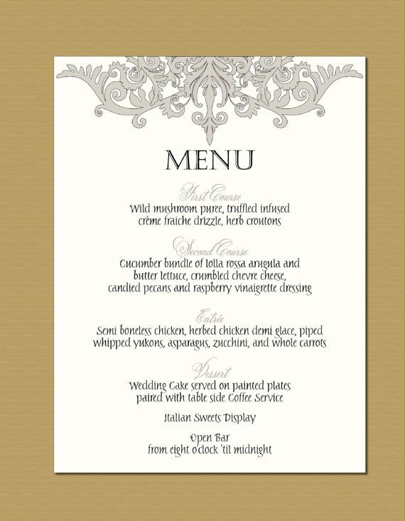 9 best wedding menu card ideas images on Pinterest | Wedding menu ...