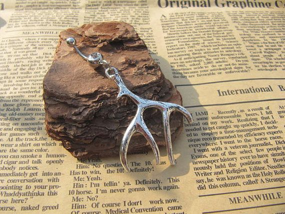 silver antler Charm Belly Button Ring Crystal Belly by kittyvogue, $3.98 love this so much :)