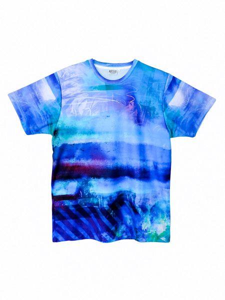 T-shirt męski - Artystyczne Błękity LUX! - ArtEgo - Bluzki