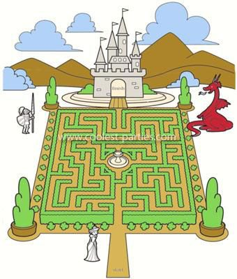 Castle Maze Invitation w/out text: 3 of our 4 children have birthdays in the month of July.  My own birthday falls in the same month too.  Because their birthdays are so close together,