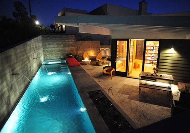 Contemporary Small Backyard Design with Lap Pool by Bestor Architecture.