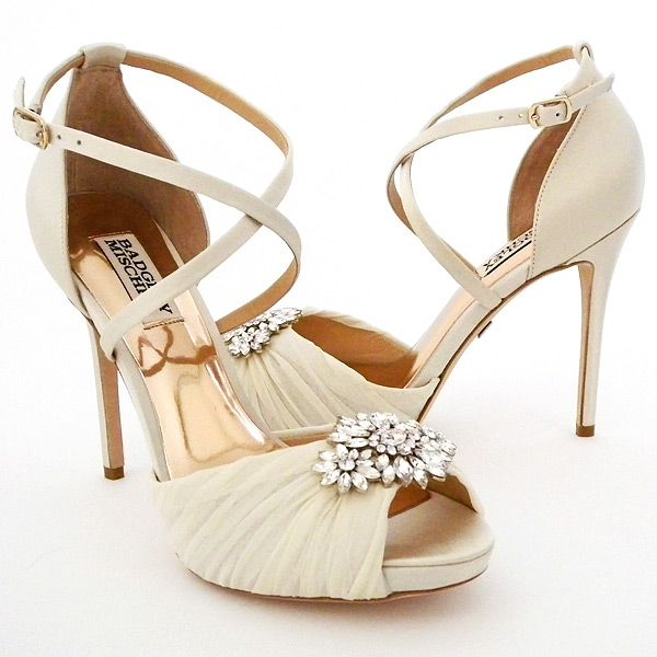 Badgley Mischka Wedding Shoes. Vintage glamour joined by modern day bling in ivory satin & organza bridal shoes a fabulous ornament at the toe.